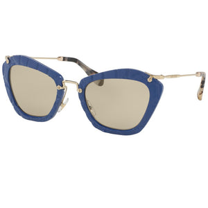 Miu Miu Cat Eye Women Noir Blue Sunglasses Light Brown Lens