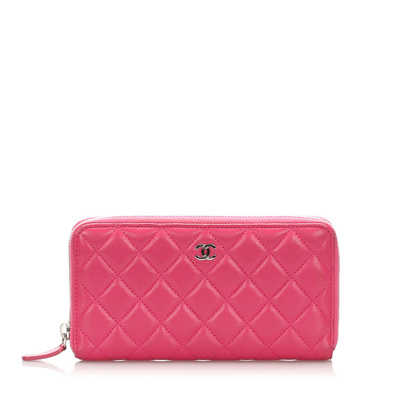 Chanel CC Timeless Zip Around Lambskin Leather Long Wallet