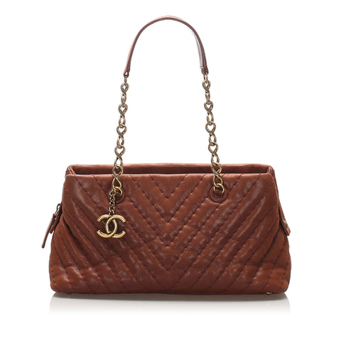 Chanel CC Chevron Leather Shoulder Bag