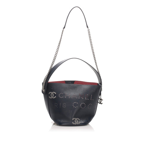 Chanel Eyelets Logo Leather Bucket Bag