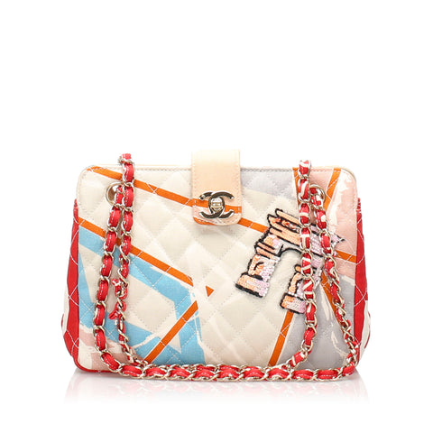 Chanel Matelasse Printed Cotton Shoulder Bag