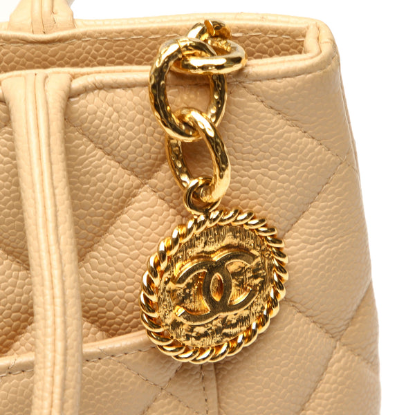 Chanel Medallion Caviar Leather Tote Bag