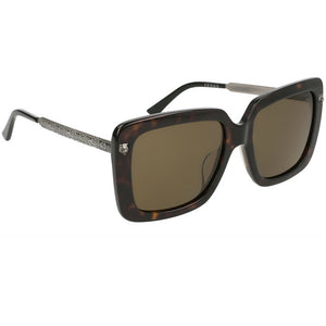 Gucci Oversized Women Sunglasses Havana Silver | Side View