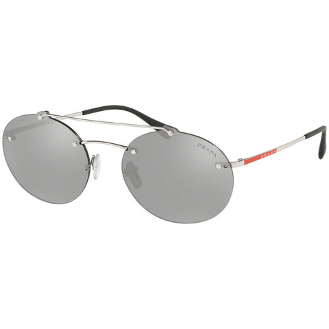 Prada Oval Men's Sunglasses W/Light Grey Silver Mirrored Lens PS56TS 1BC2B0