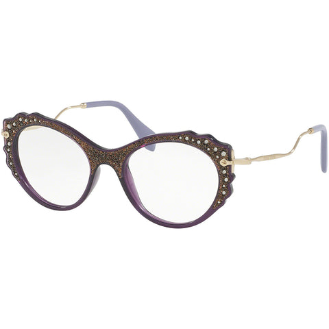 Miu Miu Cat Eye Women Eyeglasses Violet w/Demo Lens MU01PV-USV1O1-52