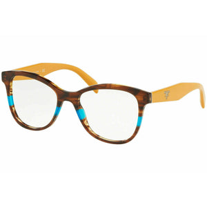Prada Cat Eye Women's Eyeglasses Striped Brown Azure W/Demo Lens PR12TV-2581O1-53