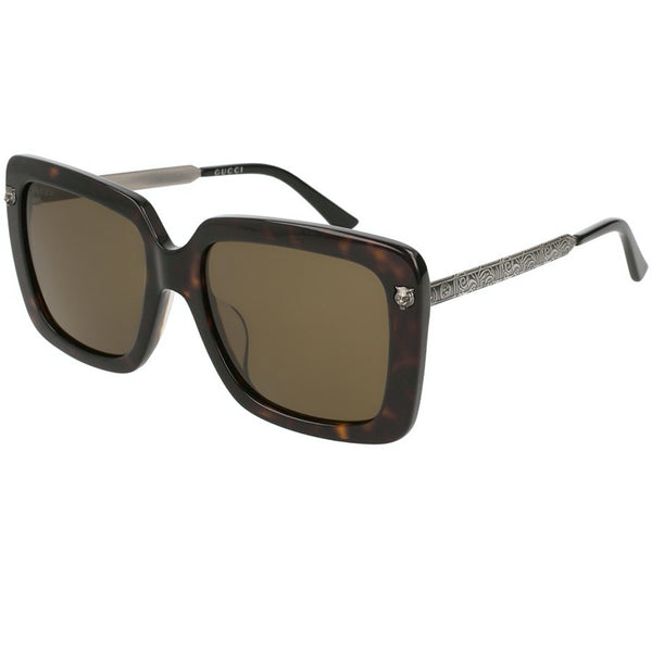 Gucci Oversized Women Sunglasses Havana Silver Brown Lens