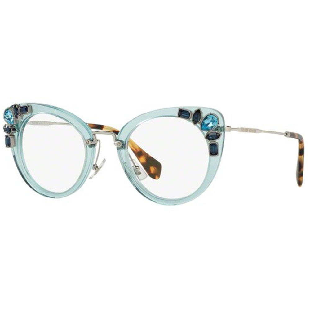 Miu Miu Women's Cat Eye Eyeglasses Transparent Azure w/Demo Lens MU05PV VAA101