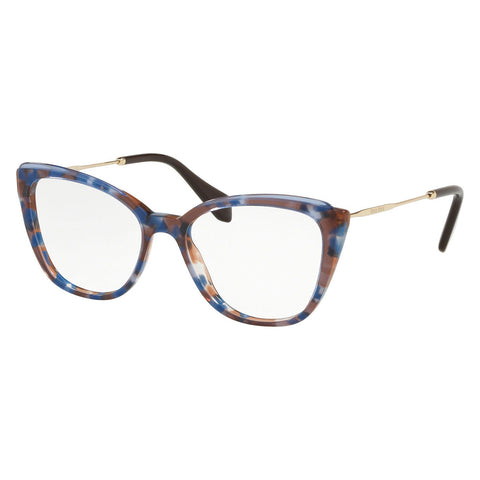 Miu Miu Cat Eye Women's Eyeglasses Azure Havana W/Demo Lens MU02QV-1081O1-51