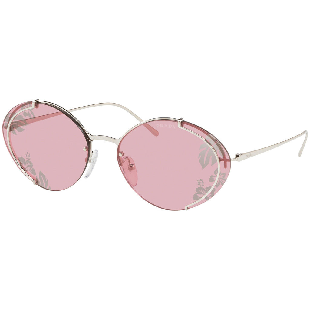Prada Oval Women's Sunglasses W/Light Violet/Tampo Ibiscus Silver Lens PR60US-1BC239-63