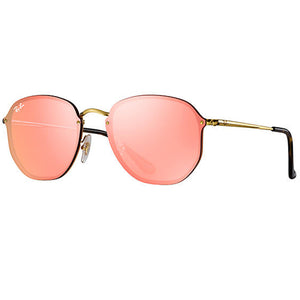 Ray Ban Blaze Hexagonal Square Unisex Sunglasses Pink Lens