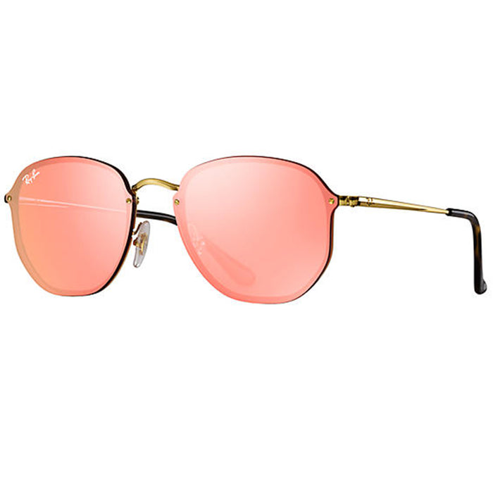 Ray-Ban Blaze Hexagonal Sunglasses Gold w/Pink Mirrored Lens