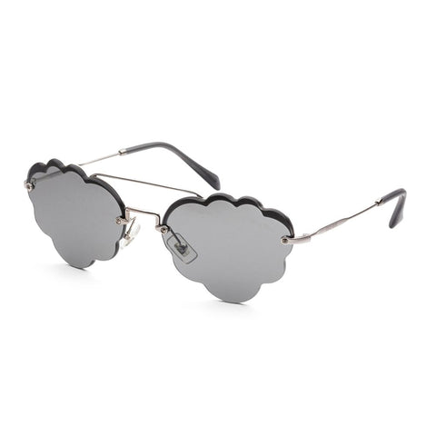 MIU MIU MU59US 1530A5 Cloud Grey Mirrored Sunglasses