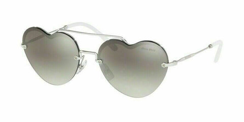 MIU MIU MU62US 1BC5O0 FOREVER IN LOVE Grey Mirrored Sunglasses