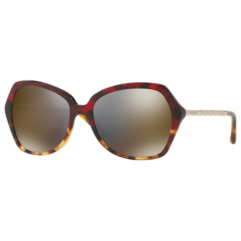 Burberry Sunglasses Butterfly Style Red Havana Light Havana w/ Dark Grey Gold Mi