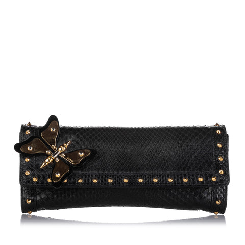 Gucci Butterfly Broadway Snake Skin Clutch Bag