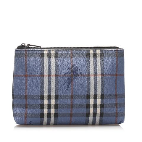 Burberry Haymarket Check Leather Pouch