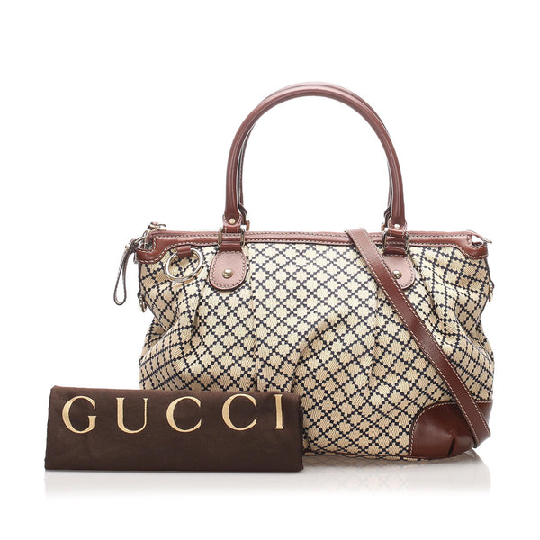 Gucci Diamante Sukey Canvas Satchel
