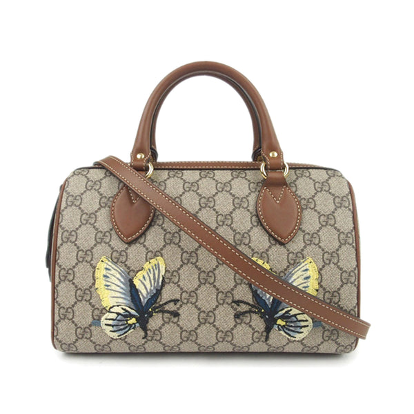 Gucci GG Supreme Butterfly Embroidered Satchel