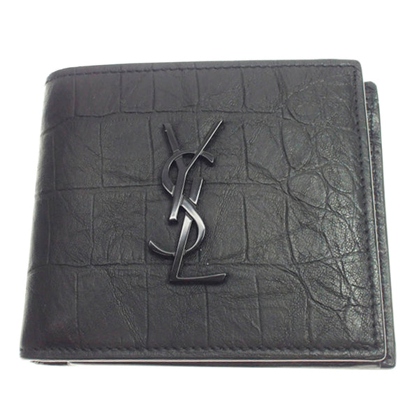 YSL Monogram Embossed Leather Wallet