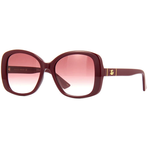 Gucci Square Women's Sunglasses Burgundy W/Red Gradient Lens GG0762S 003