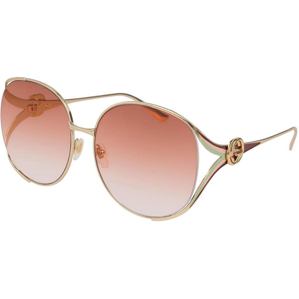 Gucci Round Women's Sunglasses W/Pink Orange Gradient Lens GG0225S-005