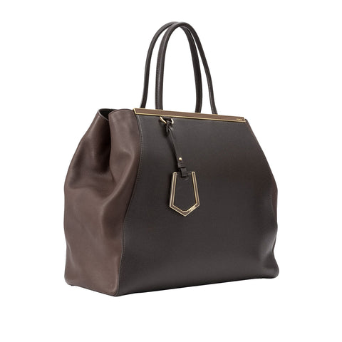Fendi Large 2Jours Leather Tote Bag