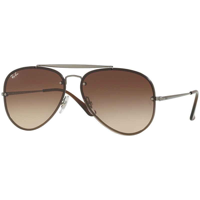 1ba8580c09956e Ray-Ban Blaze Aviator Sunglasses Gunmetal w  Brown Gradient Dark Brown Lens  Unisex RB3584N