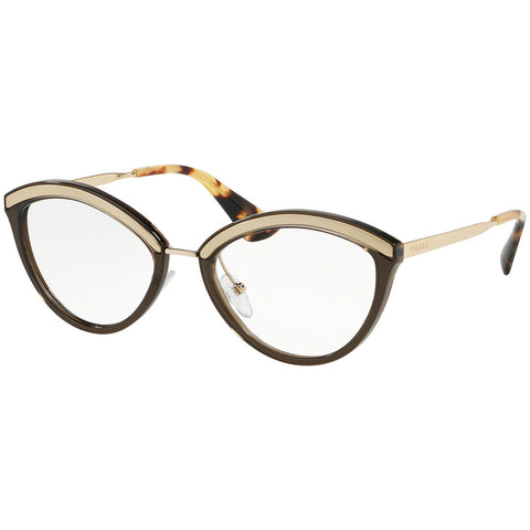 Prada Cat Eye Eyeglasses Women's Sand Pale Gold / Dark Brown w/Demo Lens PR14UV KJM1O1