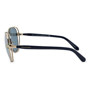 Bvlgari Women's Sunglasses Oval Style Blue Pale Gold w/ Grey Mirrored Lens  BV6087B-20206J