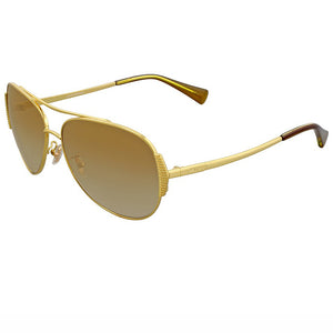 Coach Sunglasses Gold w/Brown/Gold Mirrored Lens Unisex