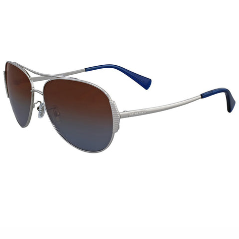 Coach Sunglasses Silver w/ Blue/Brown Polarized Lens Unisex HC7067 90781F