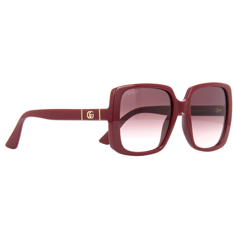 Gucci Square Women's Sunglasses Burgundy W/Red Gradient Lens GG0632S 003