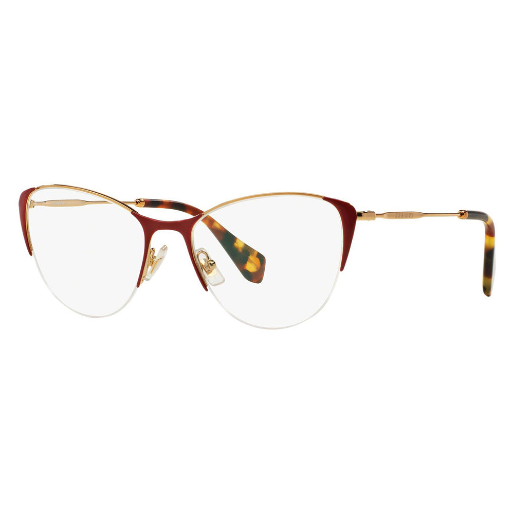 Miu Miu Cat Eye Women's Eyeglasses Red Gold w/Demo Lens MU50OV UA41O1