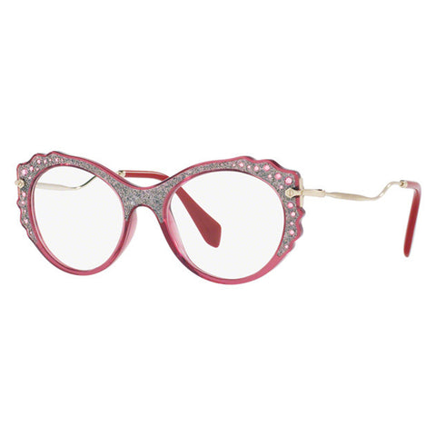 Miu Miu Women's Eyeglasses Transparent Bordeaux w/Demo Lens MU01PV USU1O1