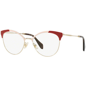 Miu Miu Cat Eye Women's Eyeglasses Gold Pink/Red w/Demo Lens MU50PV USP1O1