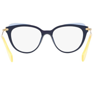 Miu Miu Cat Eye Women Blue Eyeglasses Demo Lens | Back