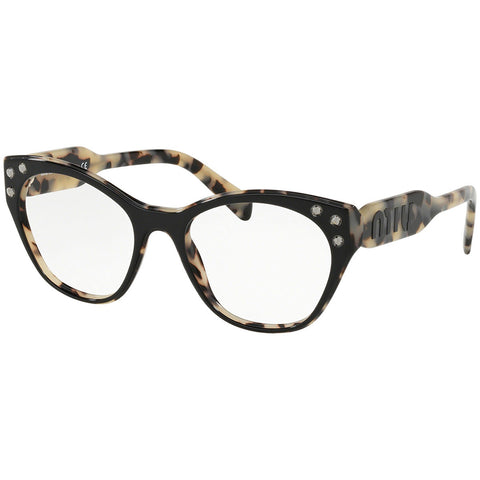 Miu Miu Women's Cat Eye Eyeglasses Black Sand Havana w/Demo Lens MU02RV ROK1O1