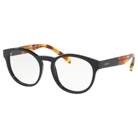 Prada Round Women's Eyeglasses Black w/Demo Lens PR16TV 1AB1O1