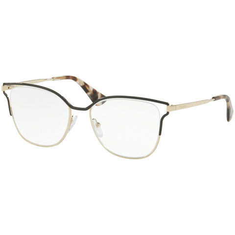 Prada Cat Eye Eyeglasses Women's Black / Pale Gold w/Demo Lens PR54UV QE31O1