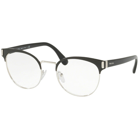 Prada Cat Eye Eyeglasses Women's Black / Silver w/Demo Lens PR63TV 1AB1O1