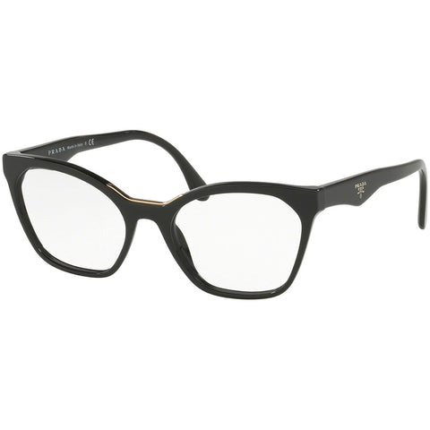 Prada Cat Eye Eyeglasses Women's Black w/Demo Lens PR09UV 1AB1O1