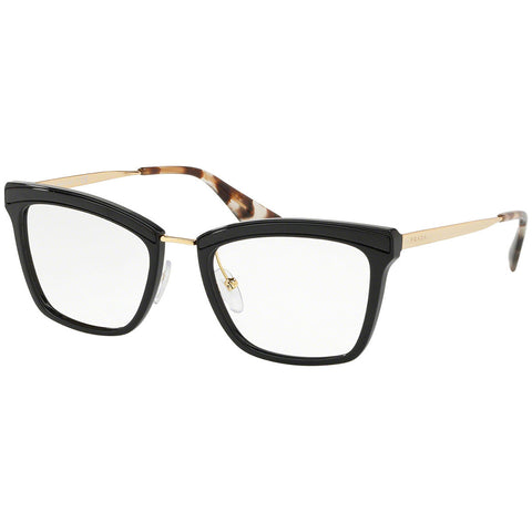 Prada Cat Eye Eyeglasses Women's Black w/Demo Lens PR15UV KUI1O1