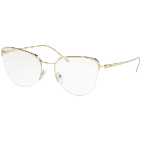 Prada Cat Eye Women's Eyeglasses Pale Gold Frame w/Demo Lens PR60UV ZVN1O1