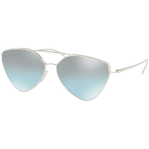 Prada Aviator Women's Sunglasses Silver Frame w/Blue Mirrored Lens PR51US 1BC096