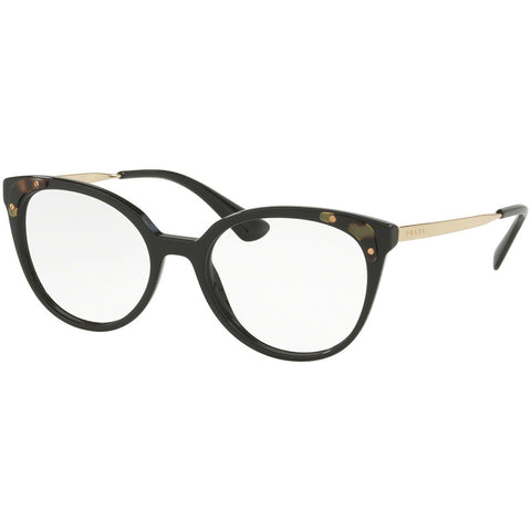 Prada Cat Eye Eyeglasses Women's Black w/Demo Lens PR12UVF 1AB101