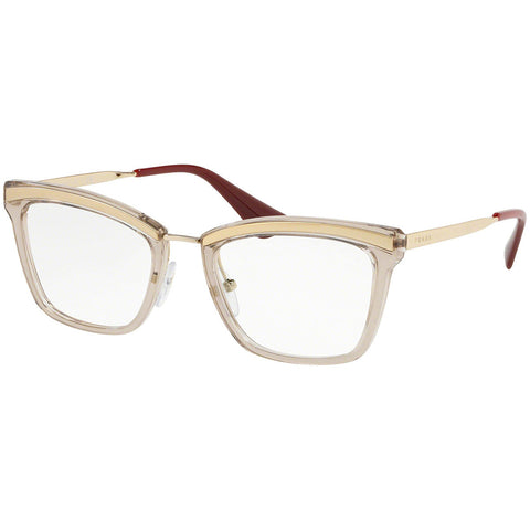 Prada Cat Eye Eyeglasses Women's Sand Pale Gold / Light Brown w/Demo Lens PR15UV KNG1O1