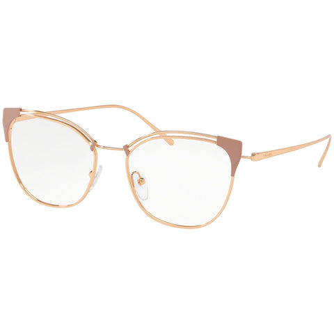 Prada Cat Eye Eyeglasses Women's Beige / Pink Gold w/Demo Lens PR62UV YEP1O1