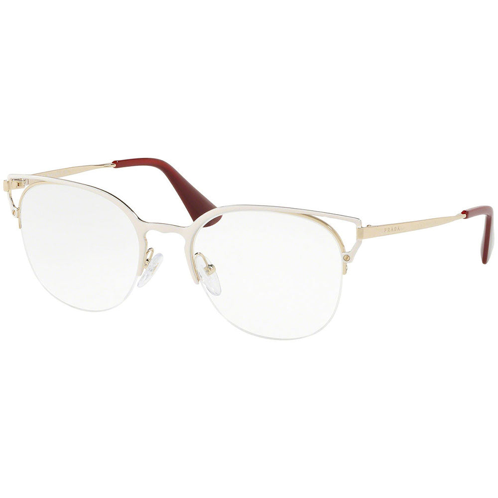Prada Cat Eye Eyeglasses Ivory/Pale Gold w/Demo Lens PR64UV LFB1O1