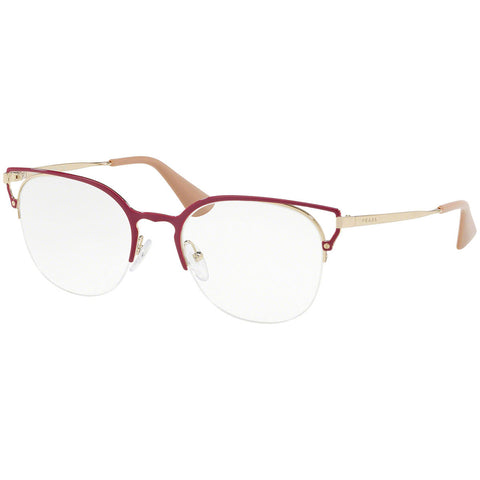 Prada Cat Eye Women's Eyeglasses Red Pale Gold w/Demo Lens PR64UV LFA1O1